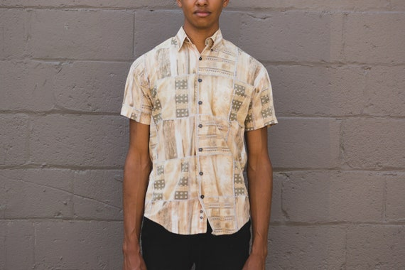Vintage Abstract Shirt - 90's Medium Size Men's Baroque Geometric Button up Short Sleeved Geo Shirt
