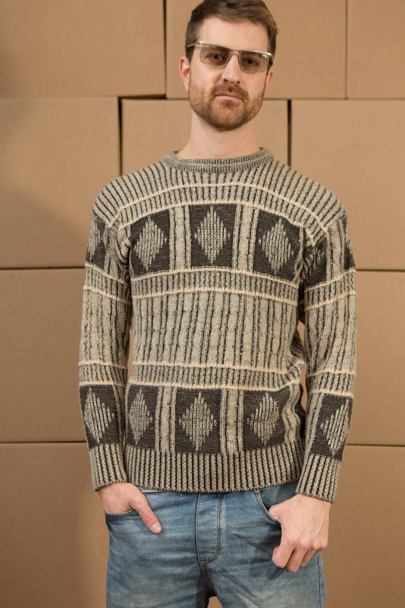 Vintage Earthy Sweater - Men's geoKnit - Unisex Men's medium Size Knit Pullover Crew Neck Jumper for Him - Christmas Dad Sweater