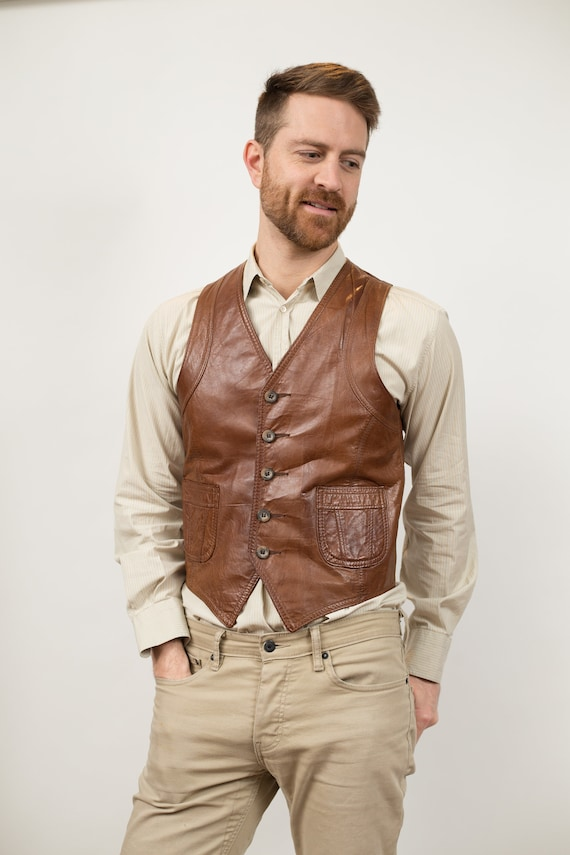 Vintage Brown Leather Vest - Unisex Small Casual or Formal Wedding Groomsmen Vest - Retro Country Western Folk Band Festival Accessory