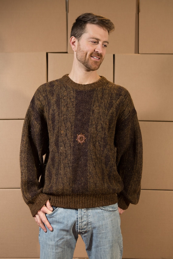Vintage Brown Sweater - Nautical Men's Earth Tone Knit with Ship Wheel - Medium Size Pullover Crew Neck Jumper for Him