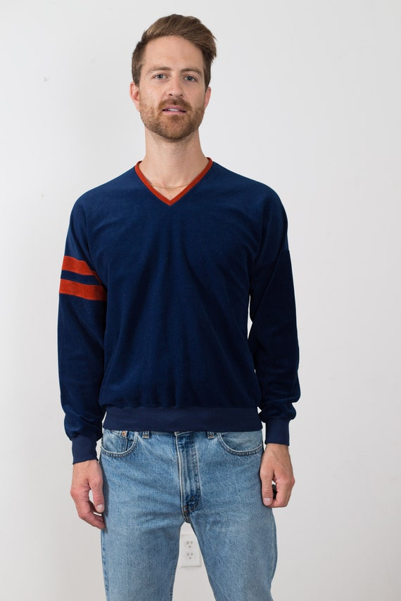 Vintage Lee Sweater - Men's Medium Size Blue and Orange Coloured Striped Velour Pullover -Made in USA Jumper