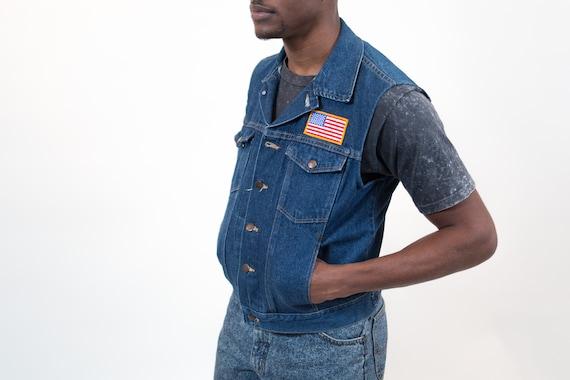 Vintage Denim Vest - Blue Jean Men's Medium Rustler Biker Vest - Casual Summer Band Rockstar Button up Jean Jacket with American Flag