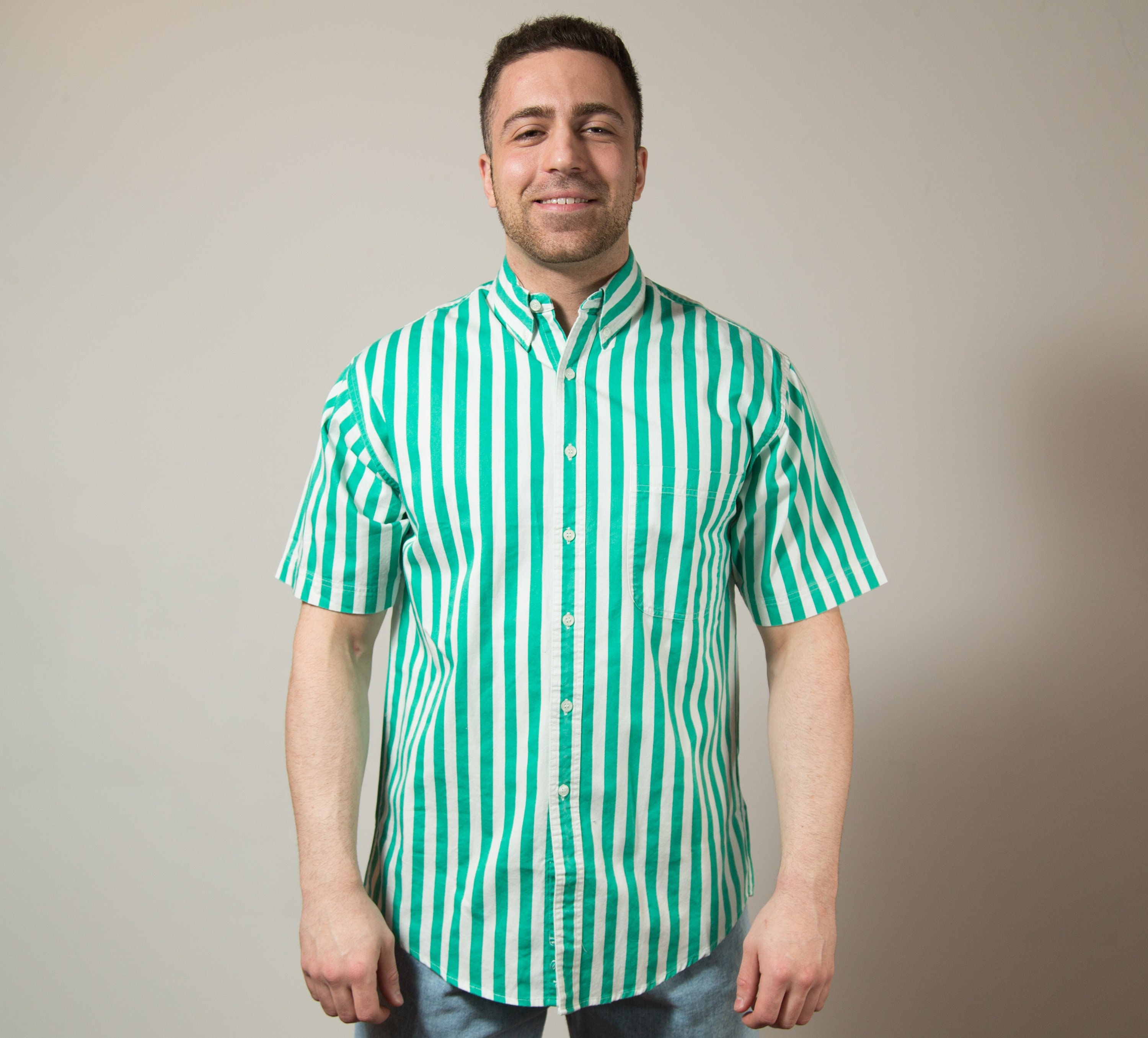 a9bf8f363b Vintage Striped Shirt / Mens Large Button up Casual Short Sleeved ...