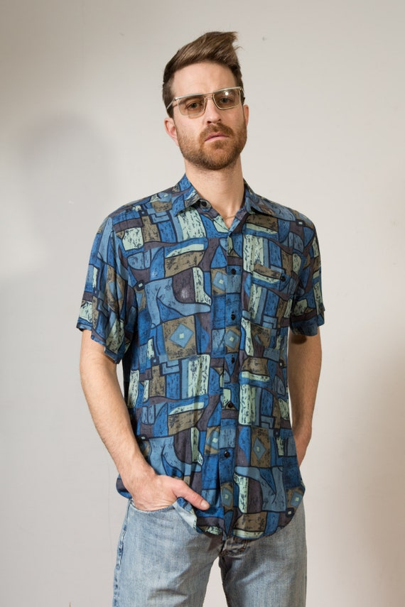 Vintage Abstract Shirt - Men's Blue and Brown Short Sleeve Button Down Shirt - 80's Casual Boho Summer Fresh Price Abstract Geometric Shirt