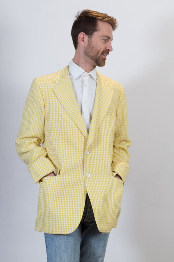 Vintage Yellow Blazer - Medium Size Checkered Sports Coat - Plaid Office Autumn Casual Suit top