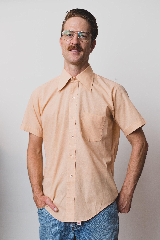 Vintage Mens Button Down Shirt Medium Short Sleeved Salmon Dress