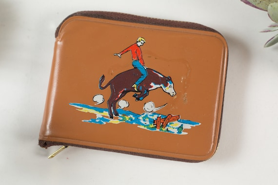 Vintage Men's Wallet - Handmade Leather Cowboy Rodeo Bull Riding Western Wallet - Country Style Arts and Crafts Leather Craftsman Wallet