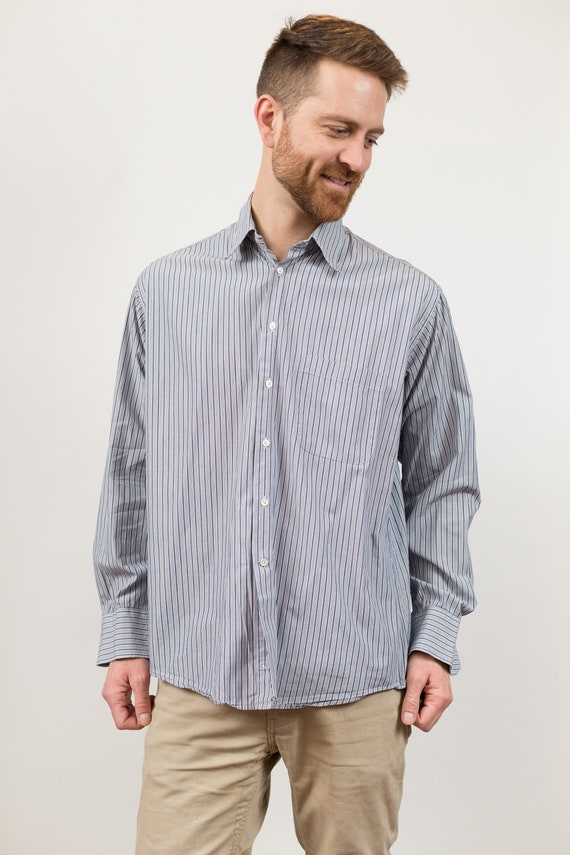 Vintage Giorgio Armani Shirt - Mens Designer Long Sleeved Blue Pinstripe Pattern Button up Causal Shirt - Le Collezioni