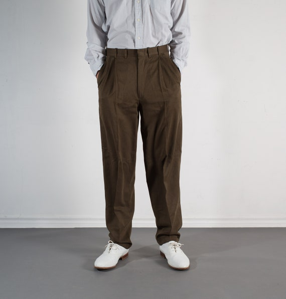 Vintage Mens Brown Trousers - W31 Pleated Dress Pants / Slacks - Formal Streetwear
