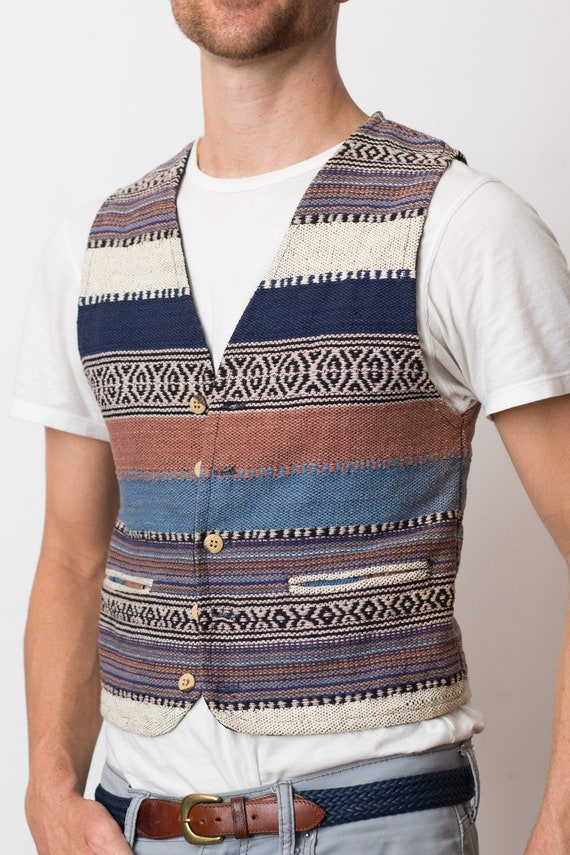Vintage Knit Vest - Men's XSmall Size 1990's Tomorrow Generation Striped Hippie Vest - Retro Country Western Shirt
