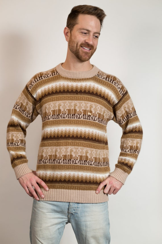 Vintage Knit Sweater - Men's Medium Size Tan and Brown Acrylic Geometric Sweater with Lama - Retro Preuvian Style Pullover Jumper