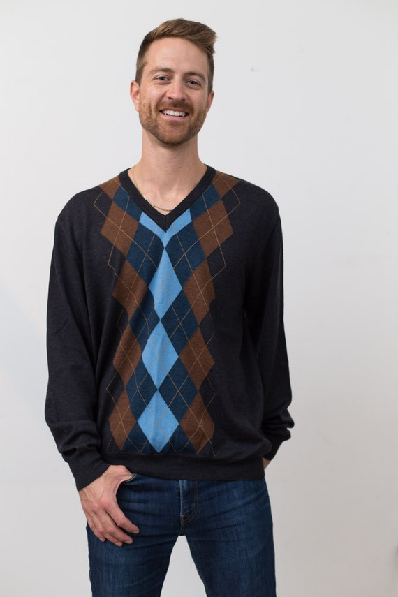 Men's Harry Rosen Sweater - Large Size Blue brown and Black Argyle Knit Geometric Abstract Pullover with Diamonds - Long Sleeved Wool Jumper