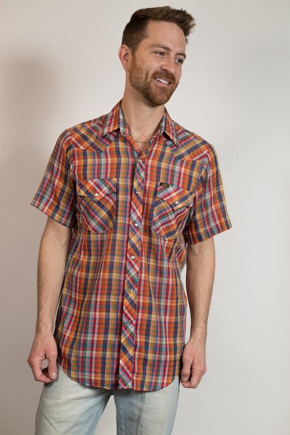 Vintage Men's Flannel Shirt - Thin Fabric Medium Size Lee Plaid Shirt - Checkered Outdoor Lumberjack Shirt - Button up Blue Western Wear