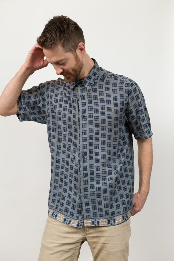 Vintage Geometric Shirt - Men'sMedium Size Button up Casual Short Sleeved Blue Summer Beach Shirt