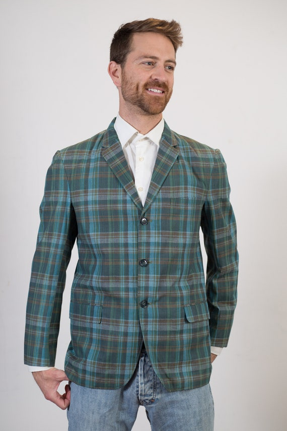 Vintage Green Plaid Blazer - Size 38 Medium Size Checkered Sports Coat - Check Tartan Office Autumn Casual Suit top