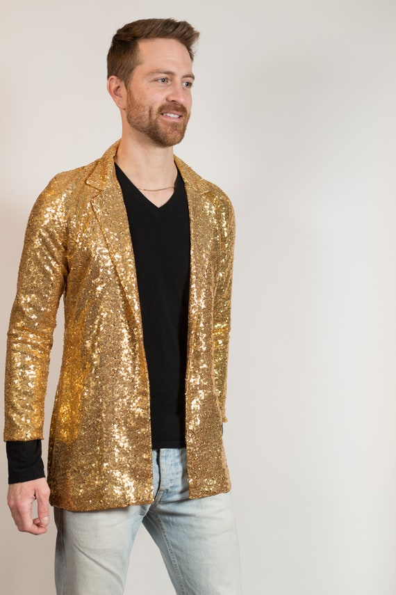 Gold Sequin Blazer - Retro Rockstar Burlesque Showpiece Fundraiser Sports Jacket - Men's or Women's UnisexSparkly Metallic Sports Coat