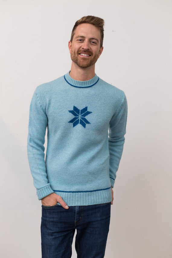 Vintage Wool Sweater - Small Hand Knit Unisex mens women's Geometric Blue Snowflake Pullover Sweater