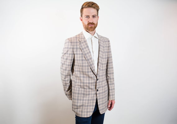 Vintage Mens Large Tartan Sports Coat / A Shiffer Hillman Creation for Signature Collection / Workers Union Made ACTWU