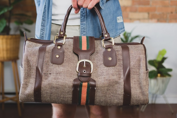 Vintage Duffle Bag - Brown Tweed Pattern and Faux Leather Dressy Retro Duffel Bag for Gym, Office or Beach -
