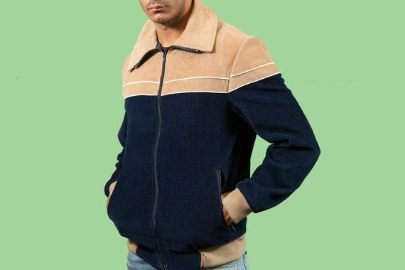 Vintage Corduroy Jacket - Men's Medium Brown and Blue Zipper Coat - Pedigree of Canada Short Spring Coat