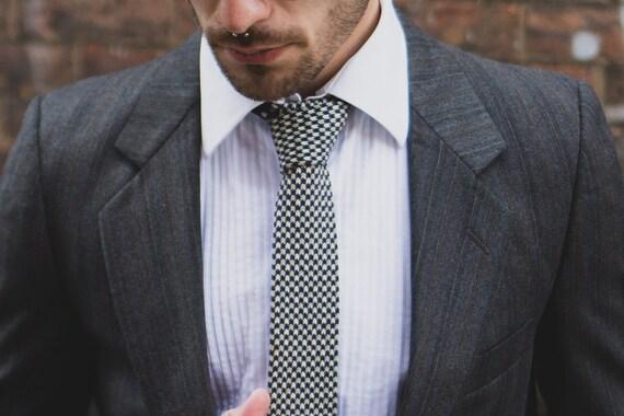 Vintage Straight Cut Necktie - Blue and White Cotton Fabric Dressy Tie forWedding Groom Groomsmen- Ron Chereskin Tie