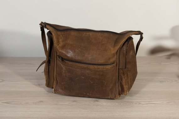 Vintage Overnight Bag - Brown Leather Retro Carry on Bag for Office, Travelling -  Leather Shoulder Strap Laptop Bag