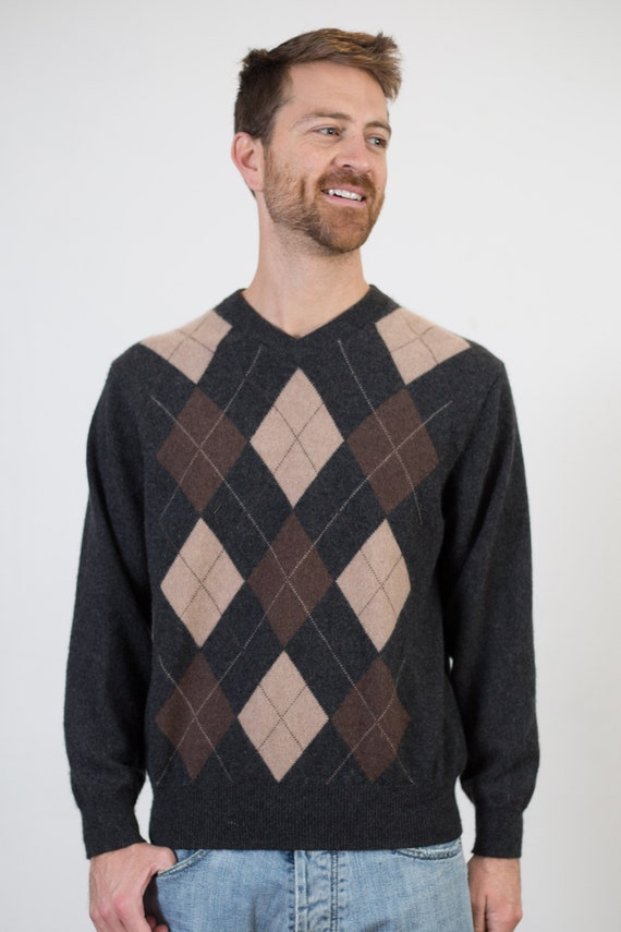 Giasone Cashmere Sweater - Men's Medium Size Brown and Black Argyle Knit Geometric Abstract Pullover with Diamonds - Long Sleeved Jumper
