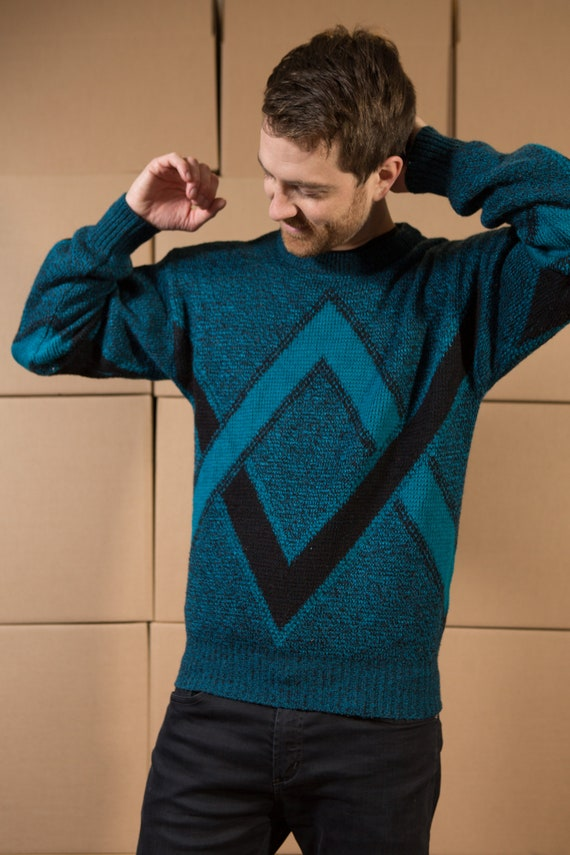 Vintage Aqua Blue Sweater - Men's Chevron Triangle Large Size Blue Pullover Crew Neck Jumper for Him - Gift for Dad - Christmas Sweater