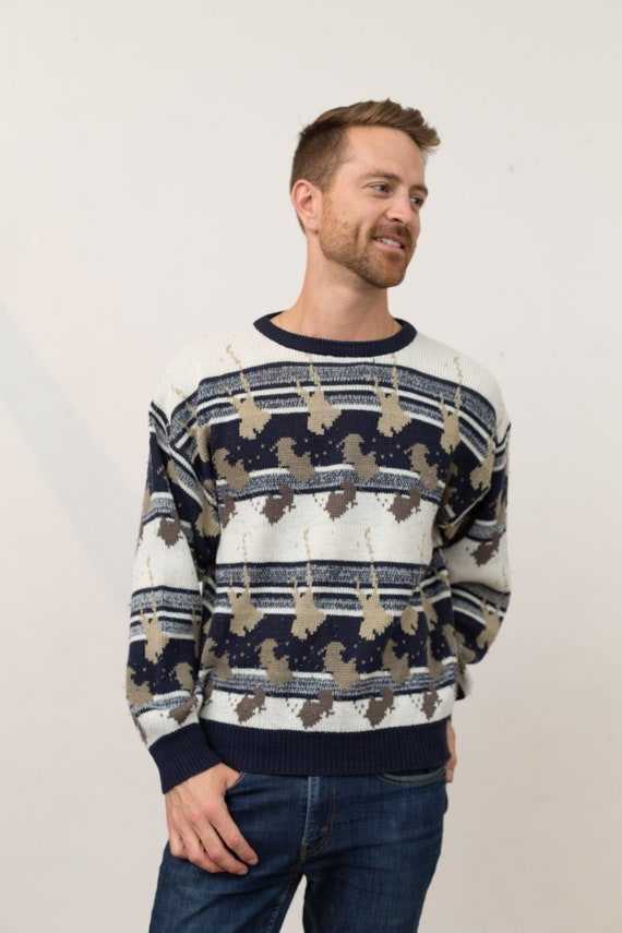 Vintage Men's Sweater - Medium 90's Brown, blue and white Geometric Abstract Pullover - Long Sleeved Jumper