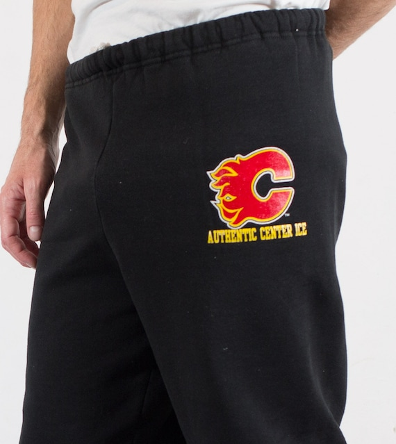 Vintage Mens Black Calgary Flames Athletic Hockey Pants - Medium Size Sporty Pyjama Lounge ware pants