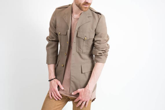 Canadian Military Jacket / Vintage Mens Green Sports Coat with Canadian Gold Buttons