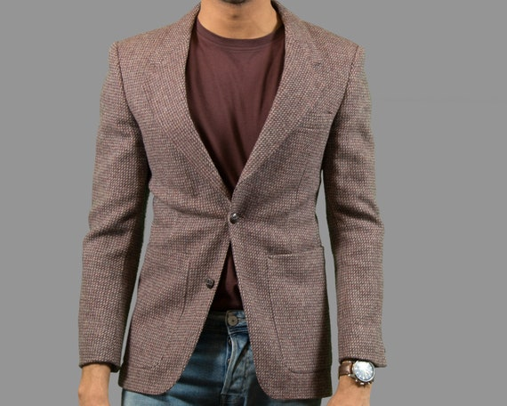 Vintage Mens Blazer - Small Light Burgundy Wool English Tweed Sports Coat - Made in Canada - Suit Blazer - Trendy Stylish Office Fashion