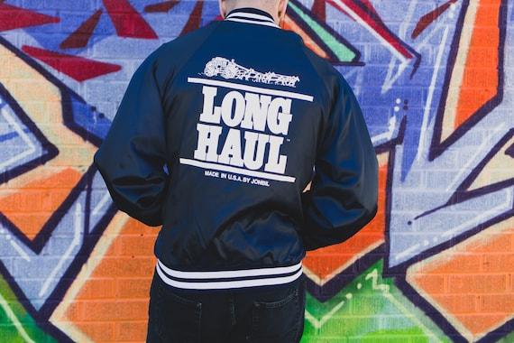 Vintage Trucker Windbreaker - Shiny Nylon Varsity Bomber Jacket - Large Button up Sports Coat - Long Haul Jonbil Jacket