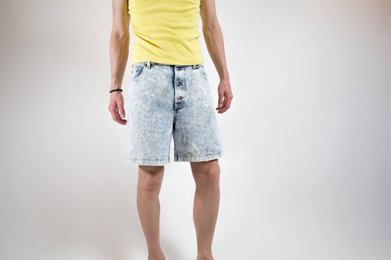 1980's Acid Wash Jean Shorts / Sasson Brand Unisex Bleached Distressed Shorts / Mens 32 Size