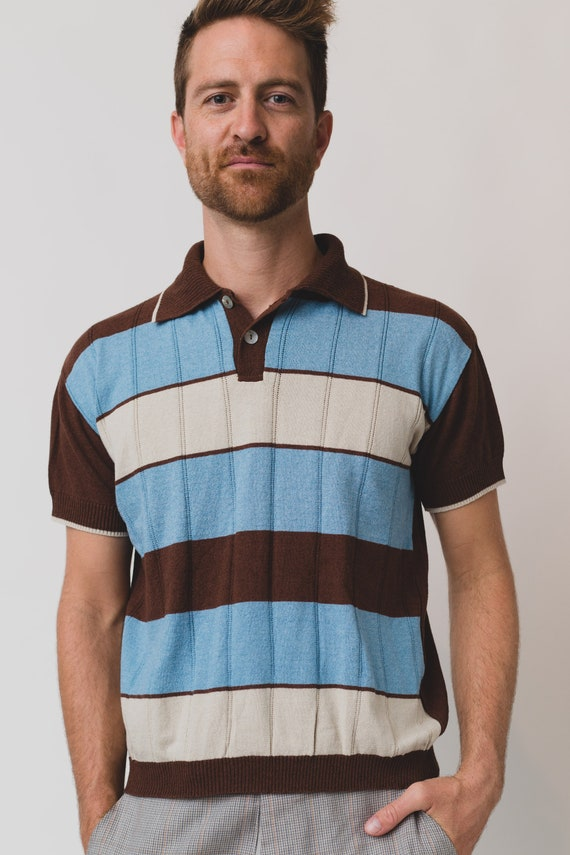 Men's Golf Shirt - Vintage Brown, Blue and White Striped Small Size Short Sleeve Tee -Soft Stretchy Summer Cotton Dad Shirt by Gaudi - Italy