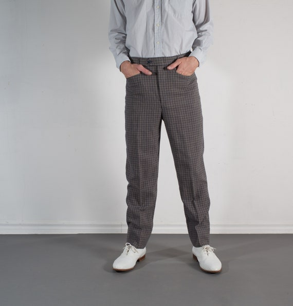 Vintage Mens grey Trousers - 33W Checkered Plaid Gray Dress Pants / Slacks