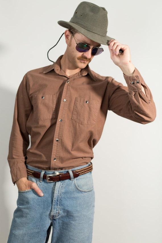 Vintage Men's Casual Shirt - Medium Coffee Brown Button up Shirt -Boho Desert Modern Country Style Cowboy Rodeo Fall Autumn Shirt