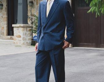 "Vintage Men's Suit - 2-piece Solid Blue Wool Suit - Wedding Groom or Groomsman Attire - Pants size 34"", Jacket size 42"""