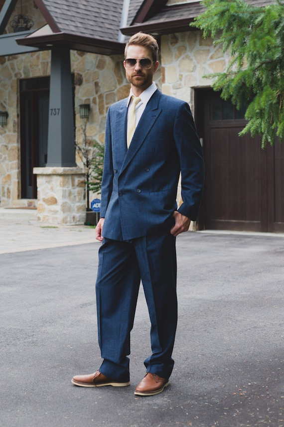 "Vintage Men's Suit - 2-piece Solid Blue Wool Suit - Wedding Groom or Groomsman Attire - Pants size 34"", Jacket size 42"""