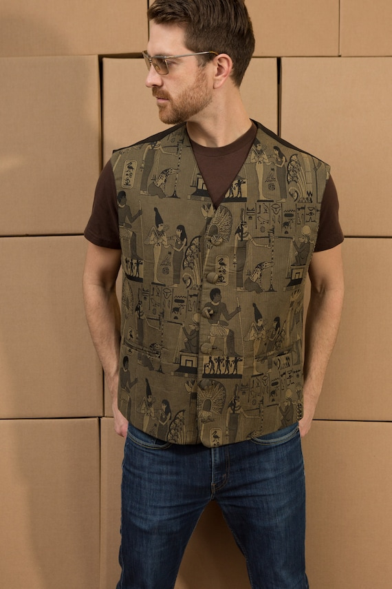 Vintage Men's XL Size Egyptian Vest - Hieroglyphics Olive Green Unisex Vest with Pharos