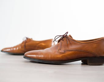 Vintage Crocket and Jones Uptown 2 Shoes / Made in England Brown Leather Size 8 Mens Casual Dressy Preppy Summer Lace up Oxfords / Loafers