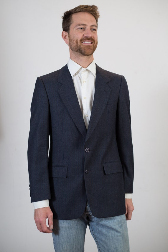 Vintage Blue Blazer - Medium Size Mens Pinstripe Navy Blue Sports Coat - Formal Office Casual Suit top