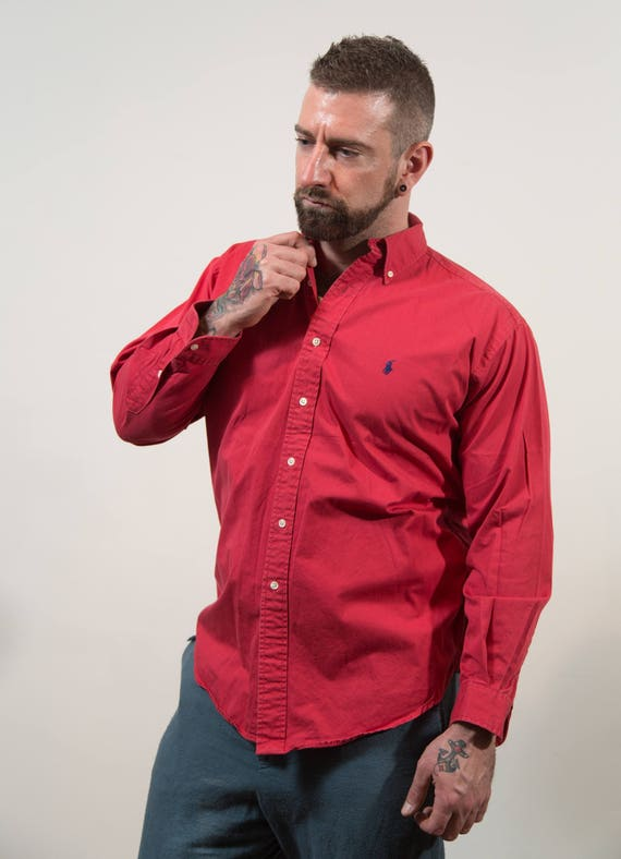 Vintage Dress Shirt - Mens Fuchsia Long Sleeved Button up Preppy Shirt - Pink Sports Shirt