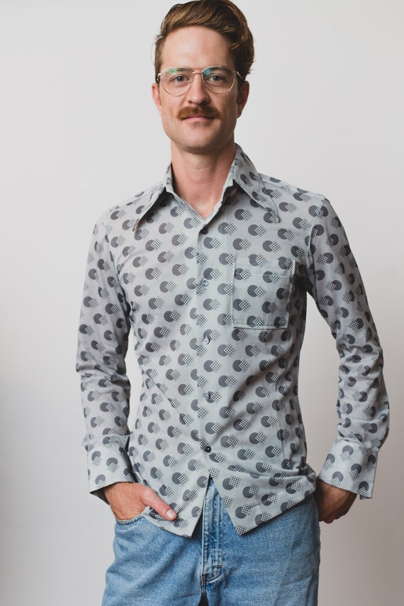 Vintage Button Down Shirt - Men's Medium Geometric Pattern Casual Long Sleeved Boho Summer Shirt - Dad Vibes Space Age Mid Century Shirt