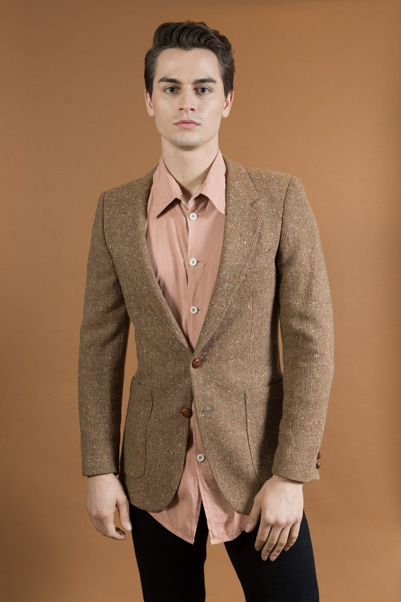 Vintage YSL Blazer - Brown Tweed Style Yves Saint Laurent Men's Sports Coat - Retro Wedding Jacket