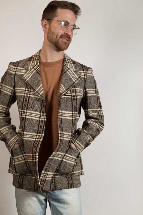 Vintage Brown Plaid Blazer - Men's Retro Sports Coat - Vintage Wedding Groomsmen or Best Man Jacket