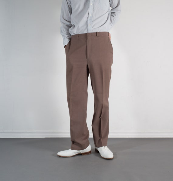Vintage Mens Brown Trousers - W33 Dress Pants / Slacks