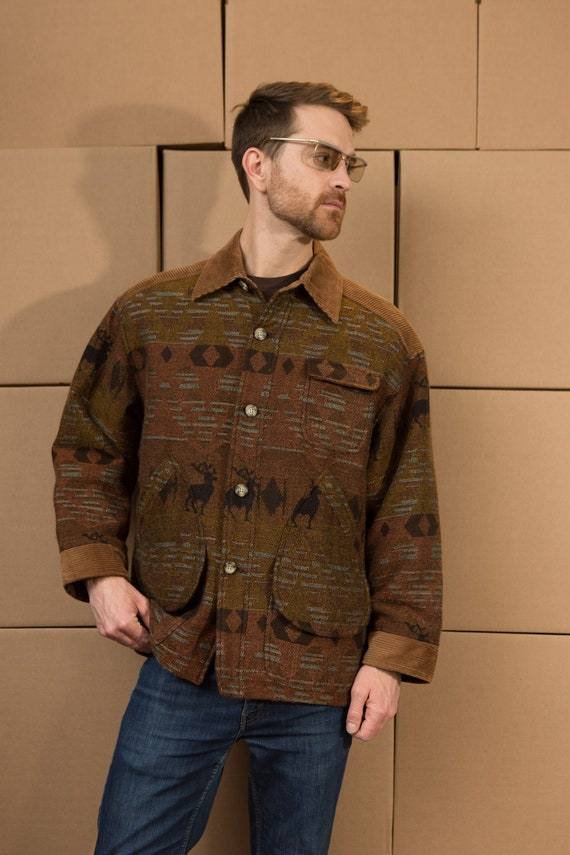 Vintage Country Jacket - Men's Southwest Western Brown Corduroy Coat - Men's Medium Size Deer Motif Pattern