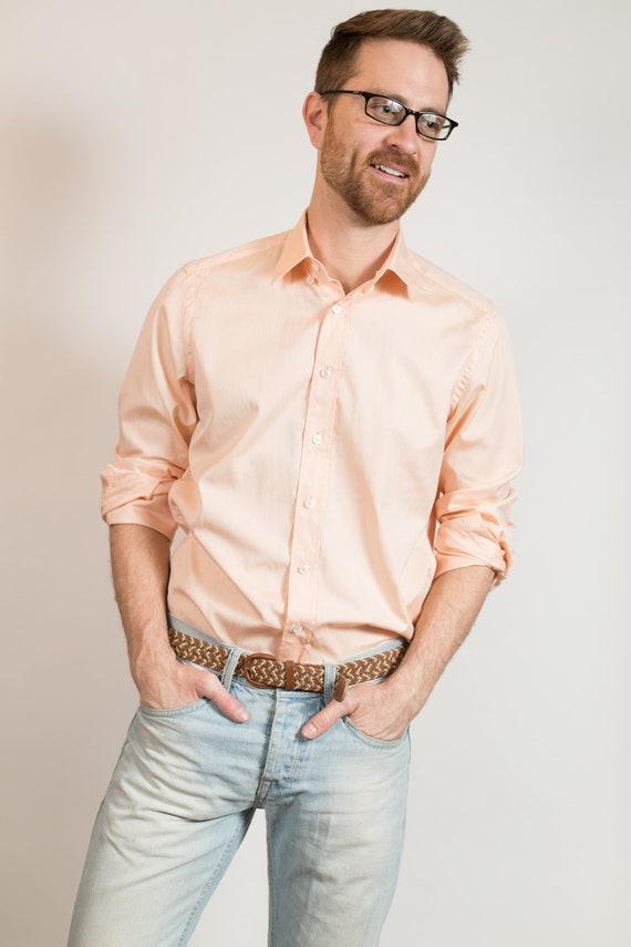 Vintage Men's Button Down Shirt - Medium Long Sleeved Salmon Dress shirt - Peach Colored Office Summer Oxford Shirt