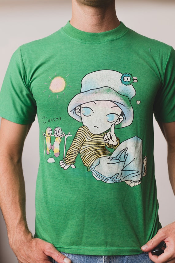 Vintage Men's T-Shirt - Green Korean Small Size Tee with Cartoon Character and Top Hat